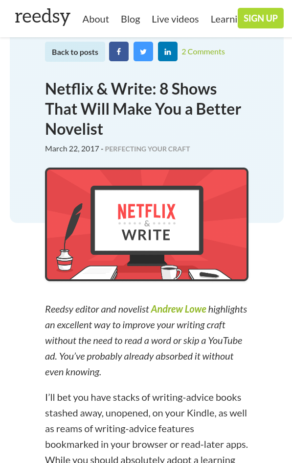 I Knew It! Netflix Binging Can Help With Writing!