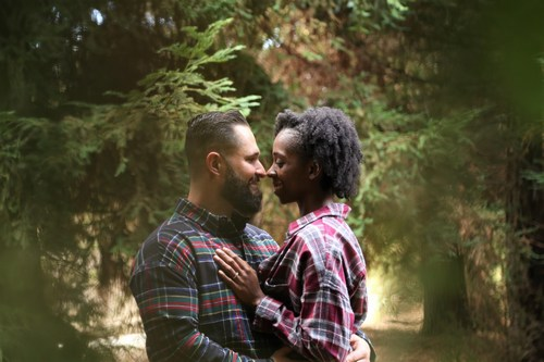 Couple. Black woman, white man